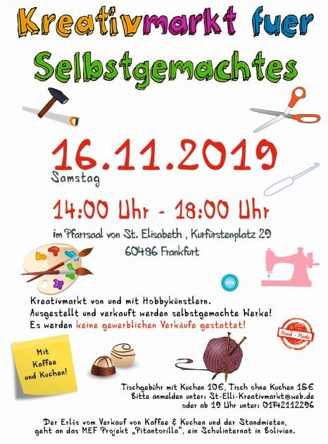 Kreativmarkt für Selbstgemachtes Samstag, 16.11.19, 14-18 Uhr im Pfarrsaal, Kurfürstenplatz 29